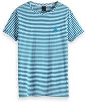 Scotch & Soda T-Shirt Wit Met Blauw Gestreept (133633 - 19) - XXL