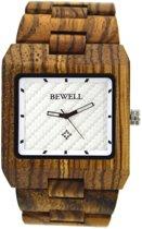 Bewell schakelband horloge van zebrahout - H071