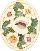 Behave® Broche ovaal met bloemen wit emaille