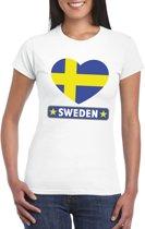 Zweden hart vlag t-shirt wit dames XS
