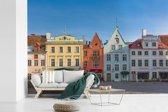 Fotobehang vinyl - Kleurrijke huizen in het Stadshart van Tallinn breedte 360 cm x hoogte 240 cm - Foto print op behang (in 7 formaten beschikbaar)