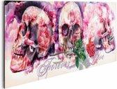 REINDERS Skulls - Schilderij - 90x30cm