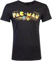 Pacman Heren Tshirt -M- Retro Logo Zwart