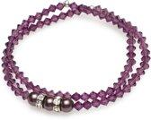 Elastische - Armbanden - Burgundy Parels met Amethyst Kristallen & Rondelle - Swarovski