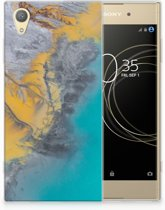 Sony Xperia XA1 Plus TPU Hoesje Design Marble Blue Gold