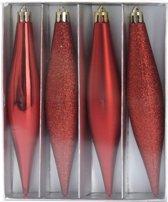 Kerstballen pegel rood 15 cm - rode kerstboomversiering