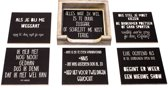 Originele Grappige Onderzetters Zwarte Set 7, 6 stuks met een houder van FSC-gecertificeerd hout