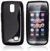 Image of Silicon Case Hoesje voor Nokia Asha 308 en Asha 309 -S-Line Black (8719321041655)
