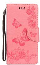 Shop4 - Wiko Lenny 5 Hoesje - Wallet Case Vlinder Patroon Licht Roze