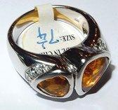 Zilveren Citrien ring maat 17.5 - 55