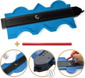 Aftekenhulp Prowork 5000 - Profielmeter Plinten - Profielaftaster - Profielmal - 25 cm - Contourmallen - Blauw - Axties®