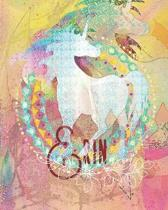 Erin: Colorful Rainbow Unicorn - 100 Pages 8''X10'' Girl's Composition Wide Ruled Notebook