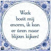 Delfts Blauwe Spreukentegel - Werk boeit mij enorm, ik kan er uren naar ...