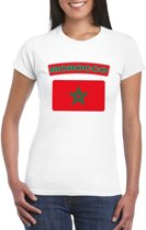 T-shirt met Marokkaanse vlag wit dames L