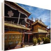Voorkant van de Jokhang-tempel Tibet Vurenhout met planken 90x60 cm - Foto print op Hout (Wanddecoratie)