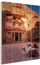 Historische stad Petra in Jordanië Hout 40x60 cm - Foto print op Hout (Wanddecoratie)