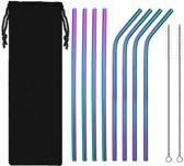 Herbruikbare Stalen Rietjes Rvs - Set 8 Stuks - 4 Gebogen & 4 Recht -  2 Schoonmaakborstels - Regenboogkleur - Multicolor - Milieu vriendelijk