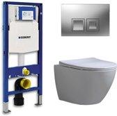 Geberit Up 100 Toiletset – Inbouw WC Hangtoilet Wandcloset - Shorty Flatline Delta 50 Mat Chroom