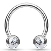 Rook piercing crystal ball ring wit ©LMPiercings