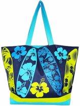 Damestas strandtas Surf met zomer/tropische print blauw 58 cm - Dames handtassen - Shopper - Boodschappentassen