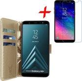Hoesje voor Samsung Galaxy A6+ Plus (2018) Book Case met Pasjeshouder Goud + Screenprotector Tempered Gehard Glas - Wallet van iCall