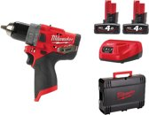 Milwaukee M12 FPD-402X 12V Li-Ion accu Klopboor-/schroefmachine set (2x 4,0Ah accu) in HD Box - koolborstelloos