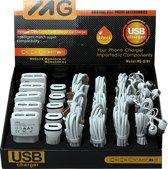 MG 6 in 1 Display Set Van 30 Stuks - Oordopjes, USB Adapter, Dual Autolader, USB Micro Type-C en Lightning Kabels Voor Tablets, Geschikt Voor Apple & Samsung, Zakelijk En Particulier Gebruik