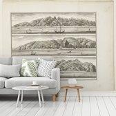 Fotobehang vinyl - Verschillende versterkingen van de VOC op Ceram - Schilderij van Frederik Ottens breedte 440 cm x hoogte 350 cm - Foto print op behang (in 7 formaten beschikbaar)