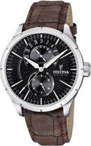 Festina F16573/2 Retro - Horloge - Leer - Bruin - 45.8 mm