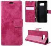 GSMWise - Samsung Galaxy S8 - PU Lederen Retro Stijl Portemonnee Case met Kaarthouder - Roze