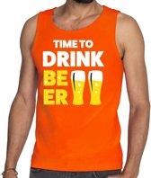 Time to Drink Beer tekst tanktop / mouwloos shirt oranje heren - heren singlet Time to Drink Beer - oranje kleding M