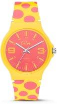 Colori U&Me 5 COL362 Horloge - Siliconen Band - Ø 38 mm - Geel / Roze
