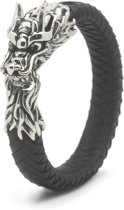 Silk Jewellery S02BLK-22 Armband zilver en leer lengte 22 cm