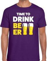 Time to drink Beer tekst t-shirt paars voor heren - heren feest t-shirts M