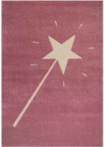 Kindervloerkleed toverstaf - roze/crème 120x170 cm
