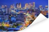 Stadsgezicht van het Aziatische Taichung in Taiwan Poster 90x60 cm - Foto print op Poster (wanddecoratie woonkamer / slaapkamer)