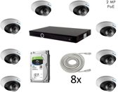 Beveiligingscamera set voor buiten, 8 IP camera's - 2MP - Tiandy