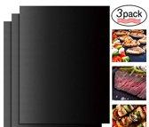 Oven, BBQ & Grill Matten - Set van 3- Bakmat - Bbq, oven en grill accessoires  - Herbruikbaar - Black -