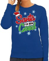 Foute kersttrui / sweater Santa I have been good blauw voor dames - kerstkleding / christmas outfit XL (42)