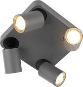 QAZQA Guardian - Plafond spot - 4 lichts - L 0 mm - Antraciet