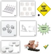 47 delig Veiligheidsset voor Kinderveiligheid -  Baby Veiligheid -  Deurbeveiliging - Deurstopper - Onzichtbare Kast- en Lade Beveiliging - Stopcontactbeschermers - Hoekbeschermers - BABY ON BOARD