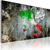Schilderij - Artistieke kaart van Italië, Multi-gekleurd, 2 Maten, 1luik