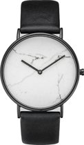 Marmer Horloge Wit-Zwart | Marble Watch | Kunstleder | Fashion Favorite