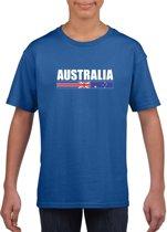 Blauw Australie supporter t-shirt voor jongens en meisjes - Australische vlag shirts L (146-152)