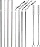 rvs/metalen rietjes - Herbruikbare set van 8 RVS rietjes, lengte 21,5 cm (4 stuks recht en 4 stuks gebogen) Stijlvol, Functioneel en Duurzaam, Incl. 2 Schoonmaakborsteltjes