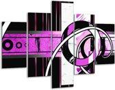 Glasschilderij Abstract | Paars, Zwart, Wit | 100x70cm 5Luik | Foto print op Glas |  F003474