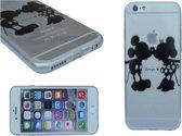 Apple Iphone 6s softcase silicone hoesje met zwart Mickey & Minnie Mouse Disney motief, motief , merk i12Cover