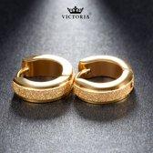 Victoria  - Goudkleurige Oorbellen - Gouden Glitter Rand