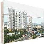 Panorama van Chennai Vurenhout met planken 90x60 cm - Foto print op Hout (Wanddecoratie)