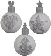 Glas Kerstballen Stripe Design (10cm) Box 3 Stuks Grey